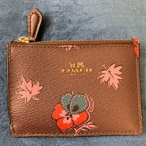 COACH ID holder - dark brown or maroon w/flowers